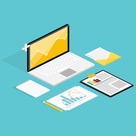reporte: Web de la anal�tica de procesos con claptop y el sitio web de desarrollo estad�stico. iconos planos. 3d estilo moderno dise�o isom�trico ilustraci�n vectorial concepto.