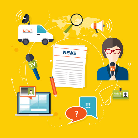 multimedia: Journalism press news reporter. Set of vector journalism icons in flat design style spokesperson, interview, microphone, tv etc, newspaper. Modern flat concept.