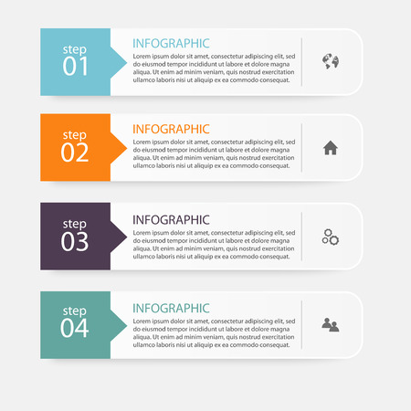 first step: Vector colorful info graphics for your business presentations. Can be used for info graphics, graphic or website layout vector, numbered banners, diagram, horizontal cutout lines, web design.