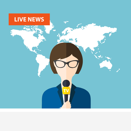news background: Female TV presenters sit at the table. Live news. News of the world. Illustration