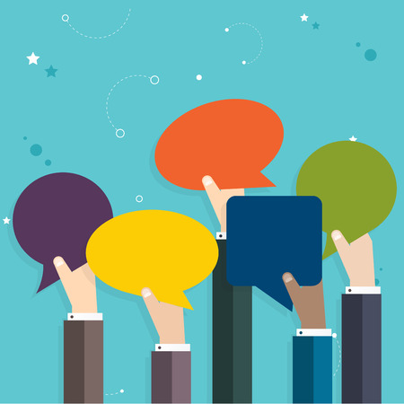 Business  people holding many carton speech bubbles. Business flat vector illustration.