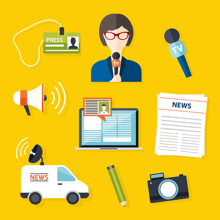 spokesperson: Journalism press news reporter. Set of vector journalism icons in flat design style spokesperson, interview, microphone, tv etc, newspaper. Modern flat concept.