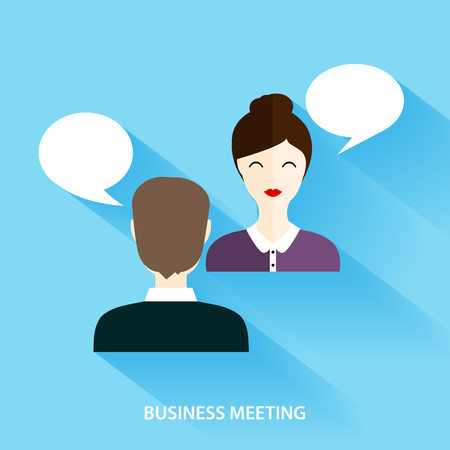 two people meeting: Businessmen and Businesswoman Having Informal Meeting. Social Network and Social Media Concept. Business flat vector illustration.