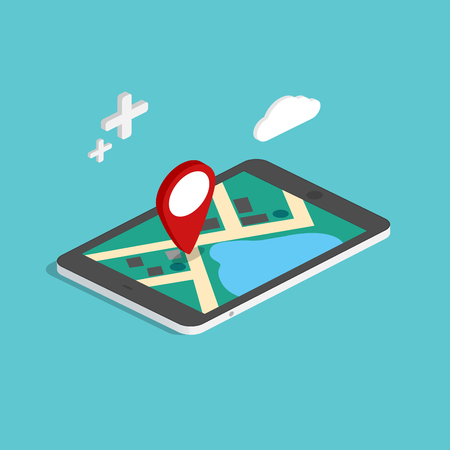 road trip: Flat 3d isometric mobile navigation maps infographic. Paper map with marker. Business vector illustration.