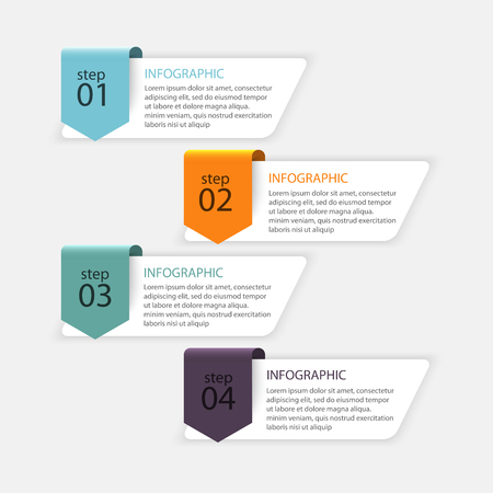 graphics: Vector colorful info graphics for your business presentations. Can be used for info graphics, graphic or website layout vector, numbered banners, diagram, horizontal cutout lines, web design.