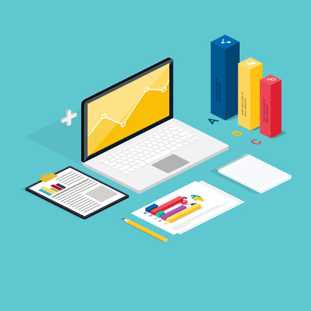 office icon: Web of analytics process with claptop and development website statistic. Flat icons. 3d isometric design style modern vector illustration concept. Illustration