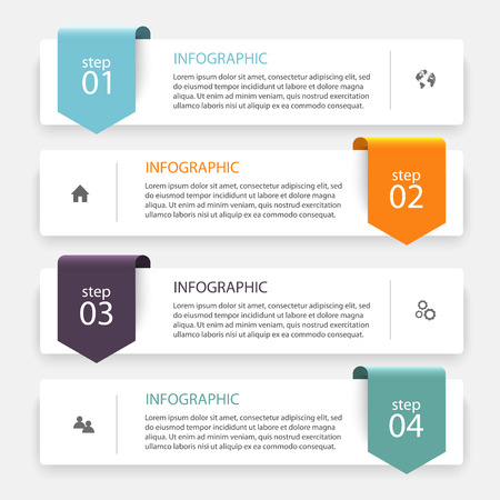 Vector colorful info graphics for your business presentations. Can be used for info graphics, graphic or website layout vector, numbered banners, diagram, horizontal cutout lines, web design. Zdjęcie Seryjne - 46550615