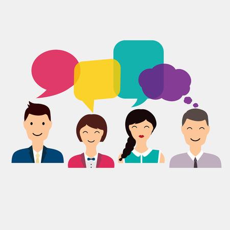 interaccion social: Iconos de la gente con el habla de diálogo de colores. Red social y el concepto de medios de comunicación social. ilustración vectorial plana negocio.