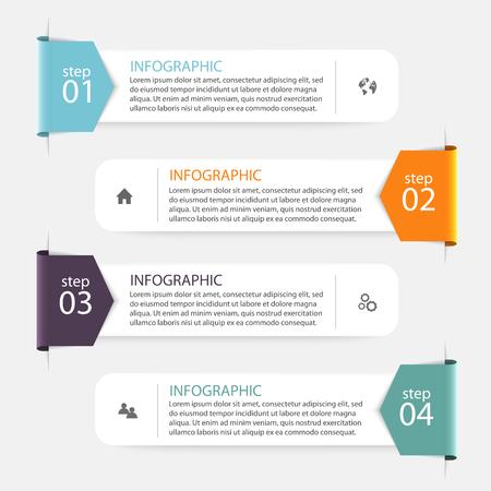 lineas horizontales: Vector colorido infografías para sus presentaciones. Puede ser utilizado para información de gráficos, gráfico o sitio web de diseño vectorial, carteles numerados, diagrama, líneas de corte horizontal, diseño de páginas web. Vectores