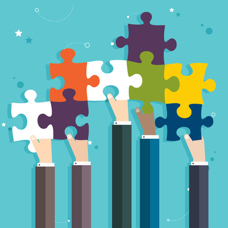 Concept of teamwork and integration with businessman holding colorful puzzle Vettoriali