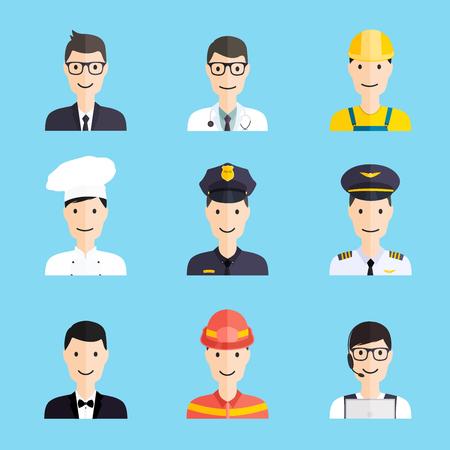 admin: Set of colorful profession man flat style icons: businessman, doctor, artist, designer, cook, police, teacher, pilot, admin. Vector illustration.