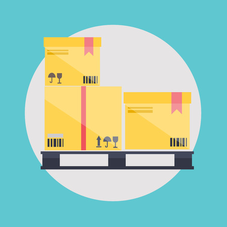 corrugated box: Warehouse icons logistic blank and transportation, storage vector illustration.