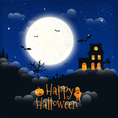 cloud background: Dark house on blue full Moon. Happy Halloween. Vector illustration