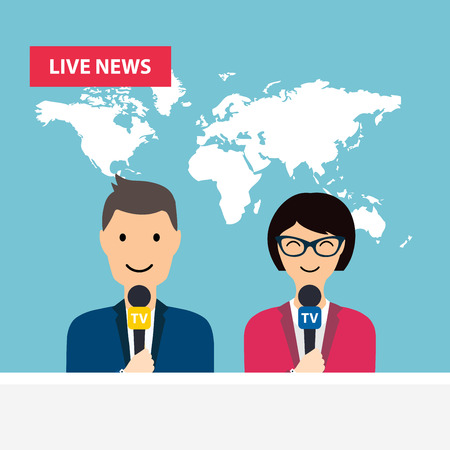 cartoon work: Female and male TV presenters sit at the table. Live news. News of the world.