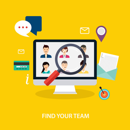 Job search and career. Human resources management and head hunter searching. Social Network and Social Media Concept. Business flat vector illustration. Stock Illustratie