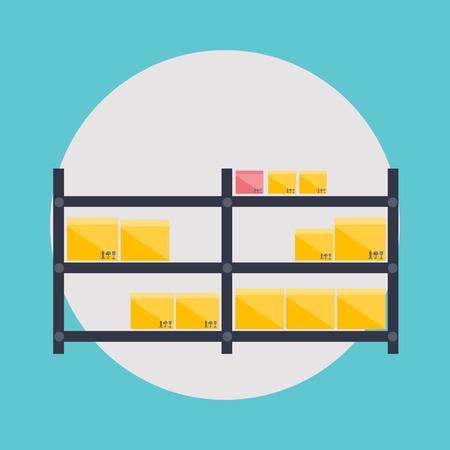 crisper: Warehouse icons logistic blank and transportation, storage vector illustration.