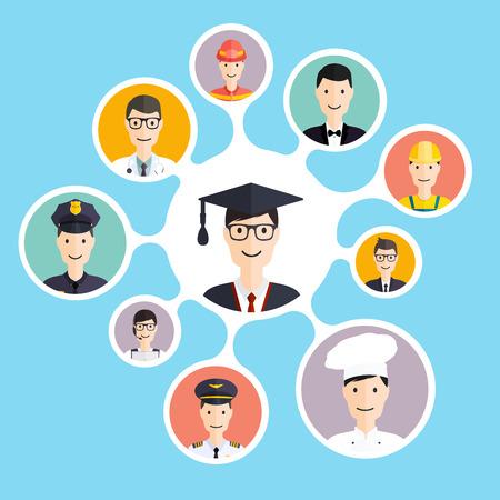 Afstuderen mannelijke student maken loopbaankeuzes: zakenman, arts, kunstenaar, ontwerper, koken, politie, leraar, piloot, admin. Vector illustratie.