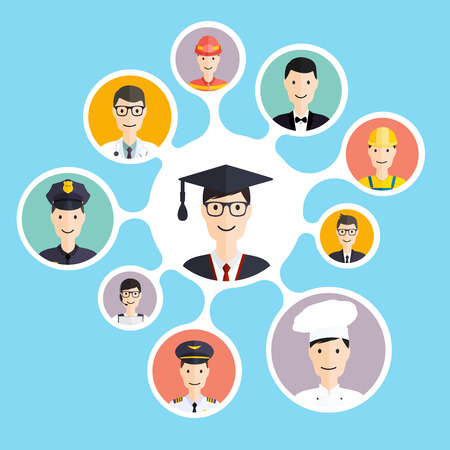 profesiones: Graduación del estudiante masculino tomar decisiones de carrera: hombre de negocios, médico, artista, diseñador, cocinero, policías, maestros, piloto, de administrador. Ilustración del vector.