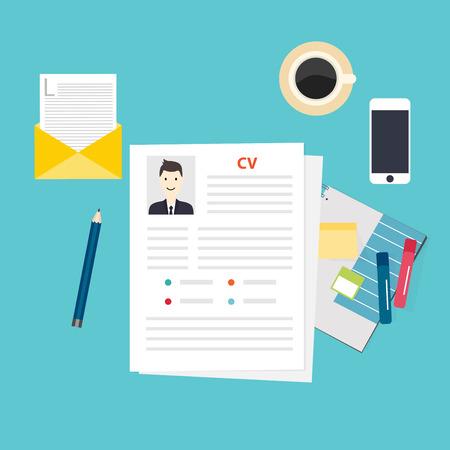 persona escribiendo: CV curriculum vitae. Concepto de entrevista de trabajo. Escribir un curriculum vitae.