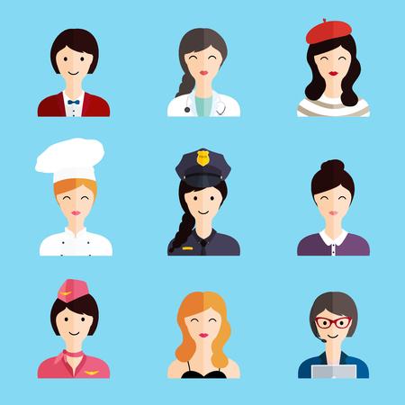 Set of colorful profession woman flat style icons: businesswoman, doctor, artist, designer, cook, police, teacher, stewardess, admin. Vector illustration. Ilustração