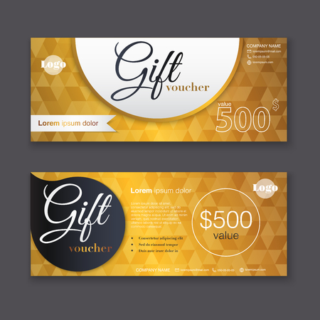 discount card: Gift voucher template with gold pattern, Gift certificate. Background design gift coupon, voucher, certificate, invitation, currency. Collection gift certificate. Vector illustration.