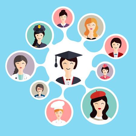 Graduation famale student make career choices: businessman, doctor, artist, designer, cook, police, teacher, stewardess, admin. Vector illustration.