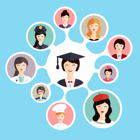 Graduation famale student make career choices: businessman, doctor, artist, designer, cook, police, teacher, stewardess, admin. Vector illustration.