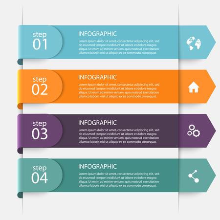 gráfico: Vetor colorido Gráficos da informação para as suas apresentações comerciais. Pode ser usado para informação gráfica, gráfico ou website layout de vetor, banners numeradas, diagrama, as linhas de recorte horizontal, web design.