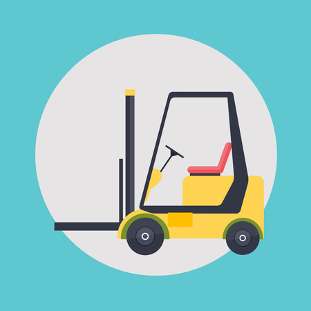 forklift driver: Warehouse icons logistic blank and transportation, storage vector illustration.