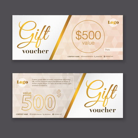 gift: Gift voucher template with gold pattern, Gift certificate. Background design gift coupon, voucher, certificate, invitation, currency. Collection gift certificate. Vector illustration.