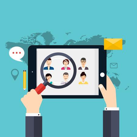 Jobsuche und Karriere. Personalmanagement und Headhunter-Suche. Social Network und Social Media-Konzept. Geschäftsflach Vektor-Illustration. Vektorgrafik