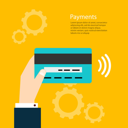man holding card: Payments. Man holding card. Vector illustration  payments from credit card. Illustration