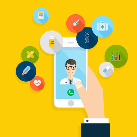 Vector modern creatief plat ontwerp op de hand houden van mobiele telefoon met medische hulp en arts. Vector illustratie.