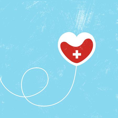 Donate blood bag on blue background. Vector illustration Stock Illustratie