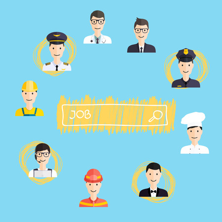 career choices: Job search and career. Human resources management and head hunter searching. Career choices: businessman, doctor, artist, designer, cook, police, teacher, pilot, admin. Vector illustration.