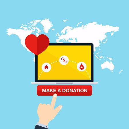チャリティ オンライン サービスのコンセプトです。医療の寄付、資金、寄付金インターネット。フラットのベクター イラストです。