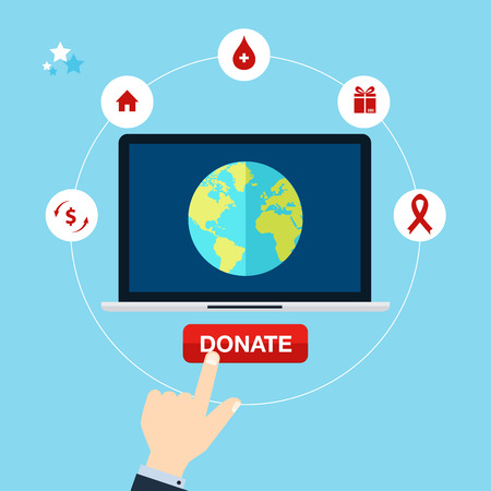 needy: Concept for charity online service. Medical donations, internet funding, donation money. Flat vector illustration. Illustration