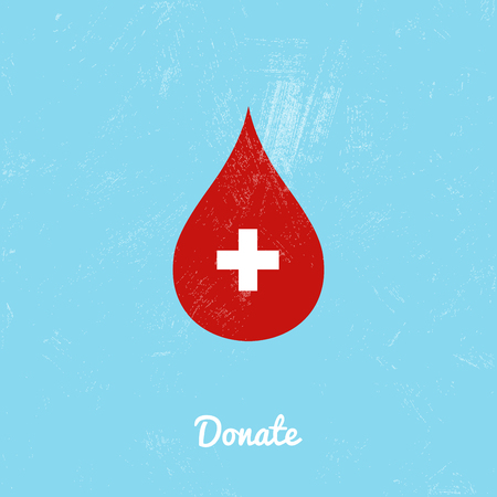 give: Donate blood bag on blue background. Vector illustration Illustration