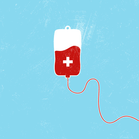 rh: Donate blood bag on blue background. Vector illustration Illustration