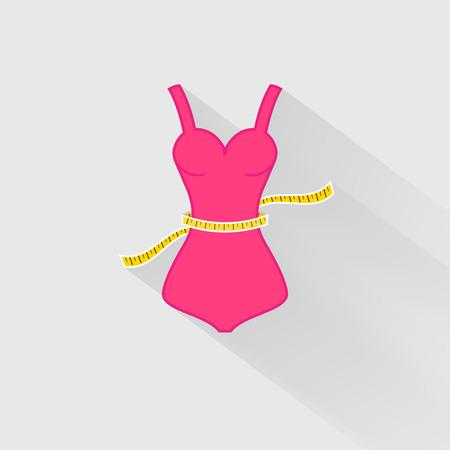 cintura: Pérdida de peso. La medición de la cintura. ilustración vectorial Vectores