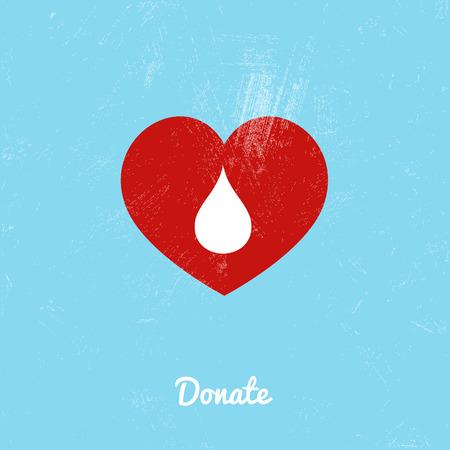 segno: Donare sacca di sangue su sfondo blu. Illustrazione vettoriale Vettoriali