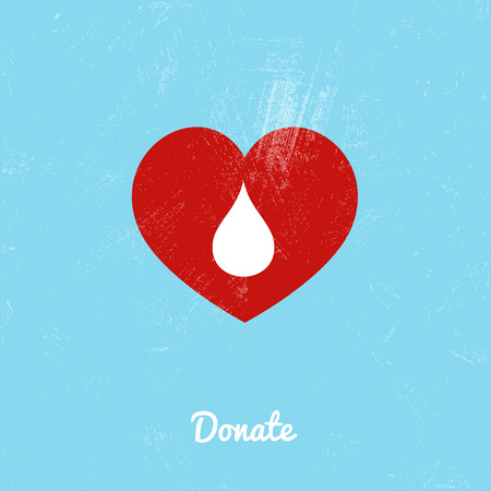 a sign: Donate blood bag on blue background. Vector illustration Illustration