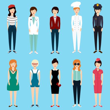 Conjunto de colorido estilo de la mujer profesión plana: mujer de negocios, médico, artista, diseñador, cocinero, policías, maestros, azafata, administrador. Ilustración del vector. Vectores