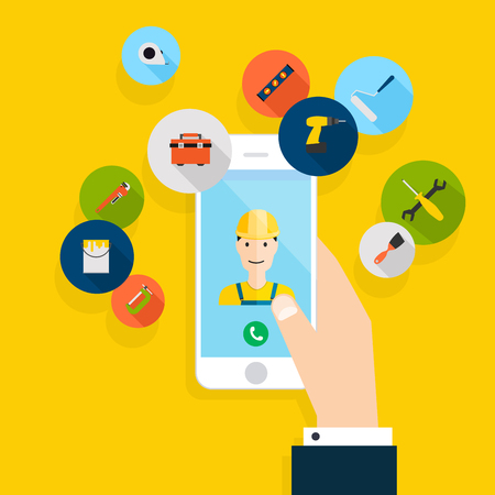Vector modern creative flat design on hand holding mobile phone with building maintenance and repair service. Vector illustration. Illustration