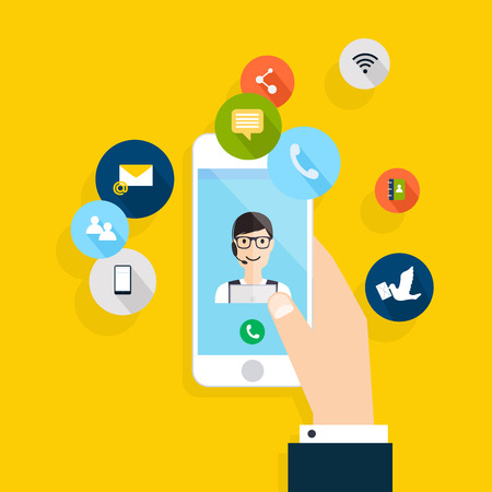Vector modern creative flat design on hand holding mobile phone with online service. Vector illustration.