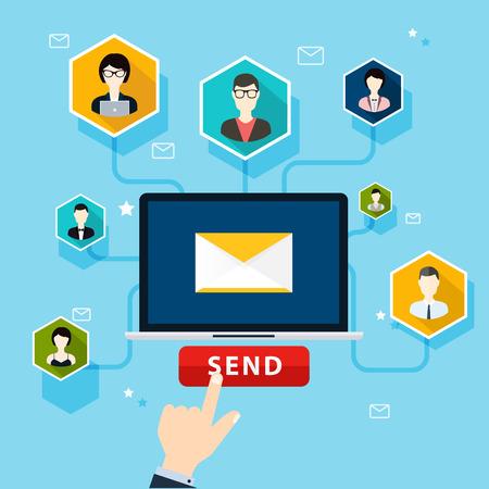 correo electronico: Campaña de Ejecución de correo electrónico, publicidad por correo electrónico, el marketing digital directa. Estilo de diseño Flat vector moderno concepto de ilustración. Vectores