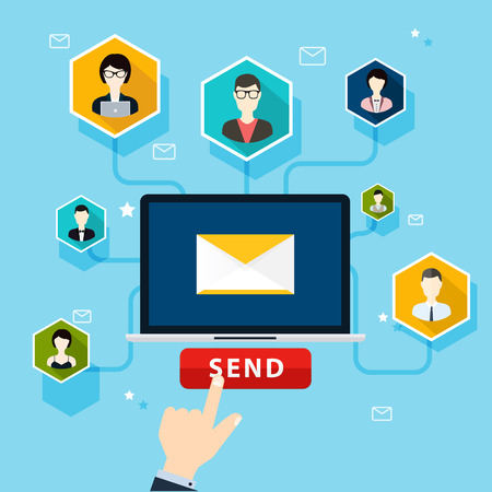campaigns: Running email campaign, email advertising, direct digital marketing. Flat design style modern vector illustration concept. Illustration
