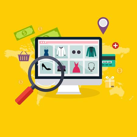 Conjunto de diseño plano concepto de compras en línea y el comercio electrónico. Iconos para el marketing móvil. Ilustración de vector