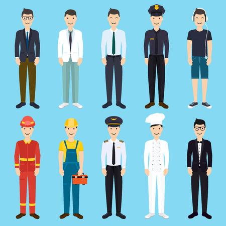 profesiones: Conjunto de iconos de estilo plana colorido hombre profesión