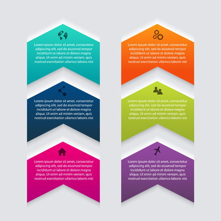 web graphics: colorful info graphics for your business presentations. Can be used for info graphics, graphic or website layout, numbered banners, diagram, horizontal cutout lines, web design. Illustration
